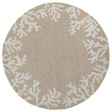 Liora Manne Capri Coral Border Indoor/Outdoor Rug (8' Round - Neutral)
