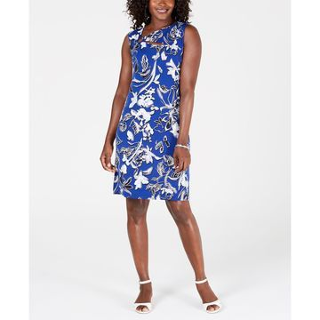 Floral-Print Embellished-Neck Dress, Created for Macy's