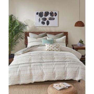 Ink+Ivy Nea King/California King 3 Piece Cotton Printed Duvet Cover Set with Trims Bedding
