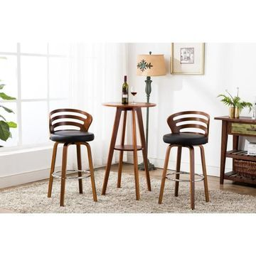Porthos Home Cora Bar Stools - Beech Wood Legs & PU Leather Upholstery