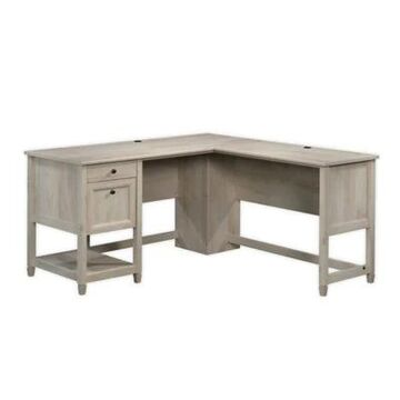 Sauder Edge Water L-Shaped Desk in Chalked Chestnut