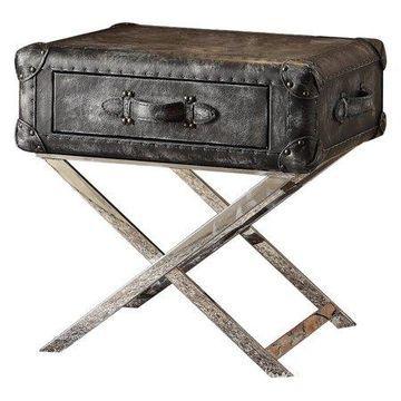 Acme Furniture Aberdeen End Table, Vintage Black Top Grain Leather
