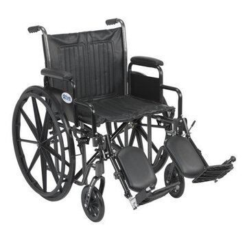 Drive Medical Silver Sport 2 Wheelchair, Detachable Desk Arms, Elevating Leg Rests, 20