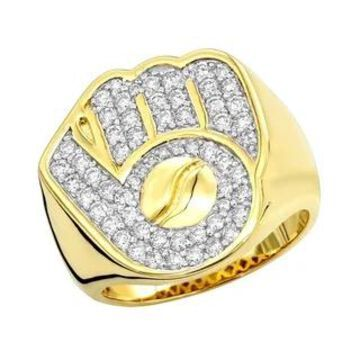 Mens 10kt Gold Diamond Rings Baseball Glove and Ball Ring 1.2ctw by Luxurman