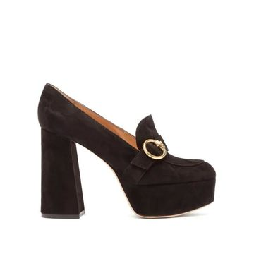 Gianvito Rossi - Moccasin Suede Platform Heels - Womens - Black