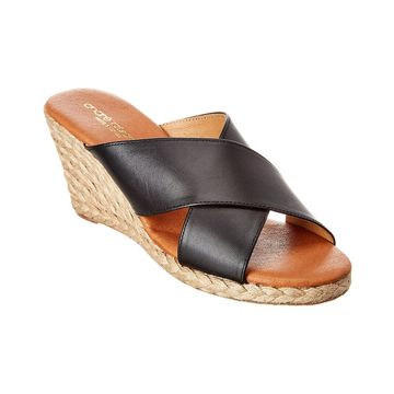 Andre Assous Amber Leather Wedge Sandal
