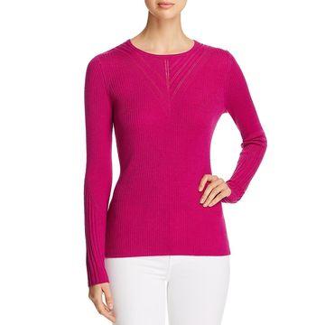 Elie Tahari Womens Noeleen Merino Wool Ribbed Pullover Sweater