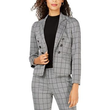 Kasper Womens Petites Open-Front Blazer Plaid Business - 6P