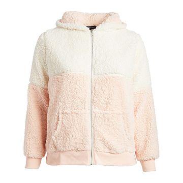 Derek Heart Women's Sweatshirts and Hoodies PINK - Blush Pink & Pearl Color Block Plush Zip-Up Hoodie - Juniors