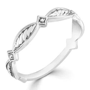 Auriya Ultra-thin Carved Stackable Anniversary 10k Gold Ring (White - 9)