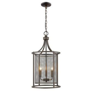 Eglo Verona 3-Light Slope Mount Ceiling Pendant in Oil Rubbed Bronze with Metal Shades