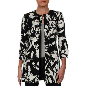 Kasper Womens Petites Topper Jacket Crepe Floral