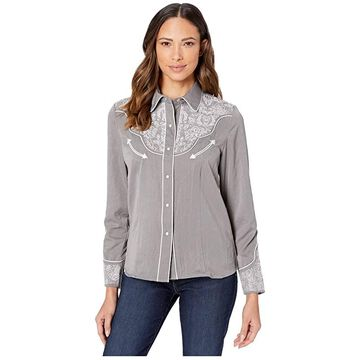 Scully Embroidered Western Shirt (Grey) Women's Clothing