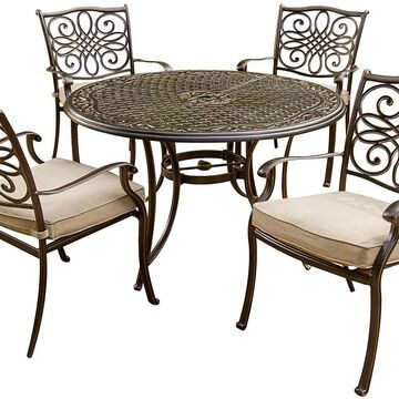 Hanover Brown Traditions 5-Piece Outdoor Dining Patio Set