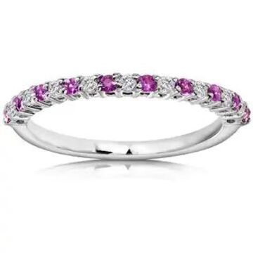 Annello by Kobelli 14k White Gold 1/4ct TGW Pink Sapphire and Diamond Band (9)