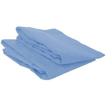 Bacati - MixNMatch Solid Crib/Toddler Bed Fitted Sheets 100% Cotton Percale, Blue, 2-Pack