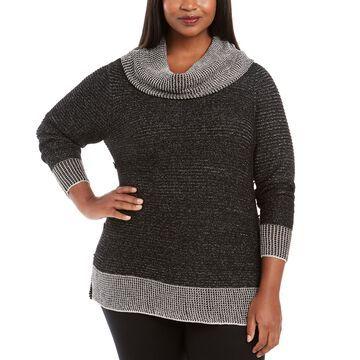 Plus Size Metallic-Threaded Button-Trim Sweater