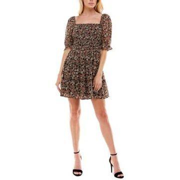 Trixxi Juniors' Floral-Print Tiered Fit & Flare Dress