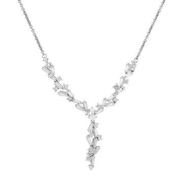 Simply Vera Vera Wang 10th Anniversary Sterling Silver Lab-Created White Sapphire Baguette Y Necklace