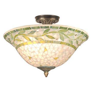 Dale Tiffany 3-Light Cadena Mosaic Flush Mount, Antique Brass