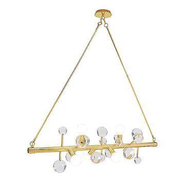 Jonathan Adler Globo Linear Chandelier - Color: Brass - Size: 6 light - 29883
