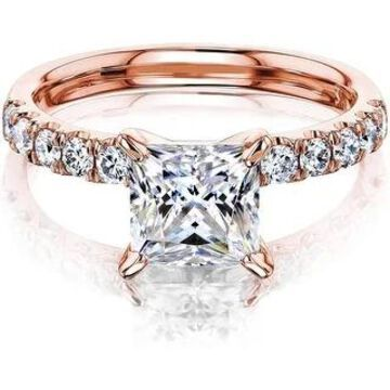Annello by Kobelli 14K Gold 1.5ct Princess Moissanite Comfort Fit French Pave (HI/VS, GH/I)
