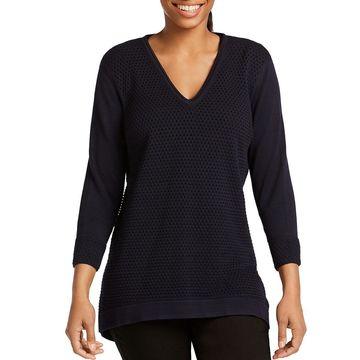 Foxcroft Womens Presley Hi-Low Open Stitch V-Neck Sweater