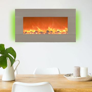 Northwest 31-inch Wall Mounted Brushed Silver 13-Color Backlight Electric Fireplace