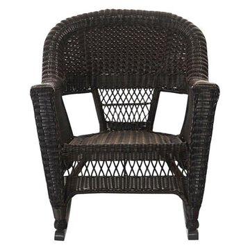 Jeco W00201R-A-2 Espresso Rocker Wicker Chairs, Set of 2