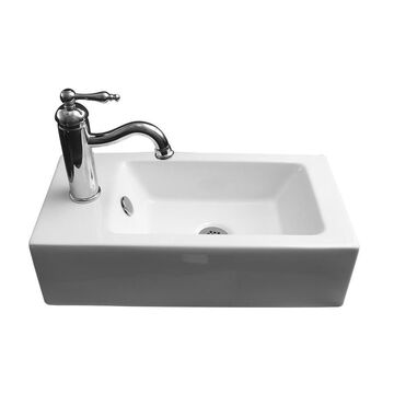 Barclay Arcadia Wall-Hung Basin White Wall-Mount Rectangular Bathroom Sink with Overflow Drain (10.12-in x 19.75-in)