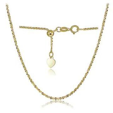 Mondevio 14K White Gold 1.3mm Rock Rope Adjustable Italian Chain Necklace, 14-20 Inches (Yellow)