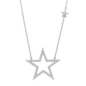 Noray Designs 14K Gold Diamond (1.00 Ct, G-H Color, I1-I2 Clarity) Star Necklace, 17