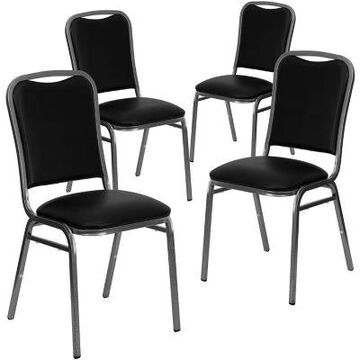 Flash Furniture HERCULES Banquet Chairs in Black Vinyl (Set of 4)