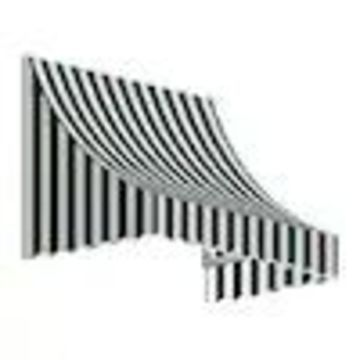 Awntech Nantucket 100.5-in Wide x 24-in Projection Striped Crescent Window/Door Fixed Awning