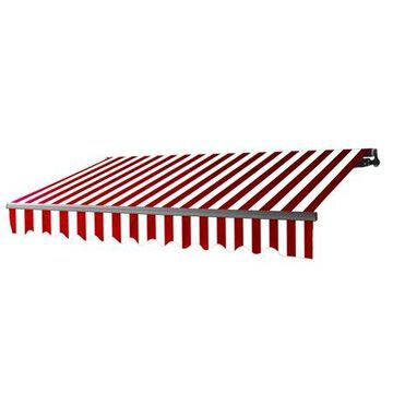 ALEKO 16'x10' Retractable Motorized Black Frame Patio Awning, Red and White Striped Color