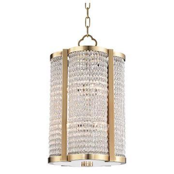 Hudson Valley 8-Light Small Pendant 4312-AGB, Aged Brass