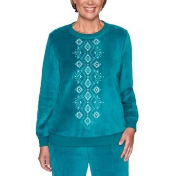 Alfred Dunner Bright Idea Studded Embroidered Sweatshirt