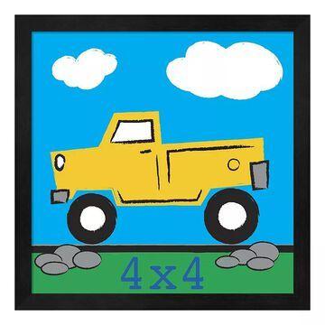 """Metaverse Art Yellow Truck Framed Wall Art, Black, 12""""X12"""""""
