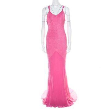 John Galliano Pink Textured Draped High Low Maxi Dress L