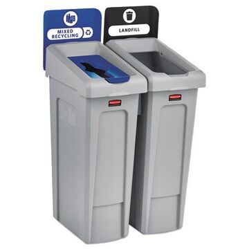 Slim Jim Recycling Station Kit, 46 gal, 2-Stream Landfill/Mixed Recycling
