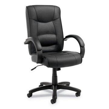 Alera Alera Strada Series High-back Swivel/tilt Top-grain Leather Chair, Supports Up To 275 Lbs, Black Seat/black Back, Black Base