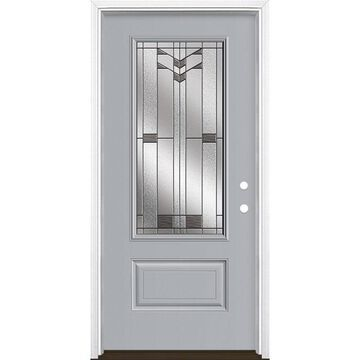 Masonite Frontier 36-in x 80-in Fiberglass 3/4 Lite Left-Hand Inswing Infinity Gray Painted Prehung Single Front Door with Brickmould