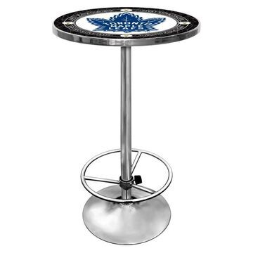 Trademark Gameroom Toronto Maple Leafs Pub Tables White Round Bar Table, Composite with Metal Metal Base