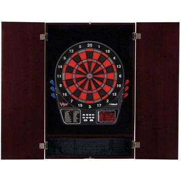 797 Electronic Dartboard and Metropolitan Mahogany Cabinet Bundle by Viper