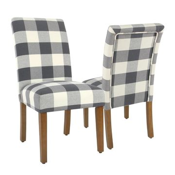 HomePop Parsons Dining Chair - Blue Plaid (set of 2) (Blue)
