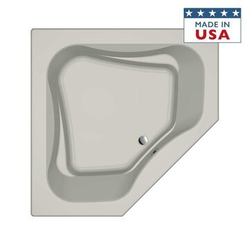 Jacuzzi Primo 60-in W x 60-in L Oyster Acrylic Corner Front Center Drain Drop-In Soaking Bathtub in Off-White   P5D6060BCXXXXY