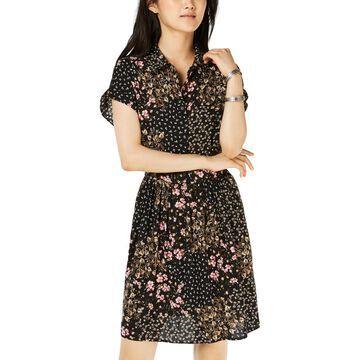 Be Bop Womens Juniors Floral Mini Shirtdress