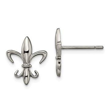 Chisel Titanium Fleur de lis Earrings