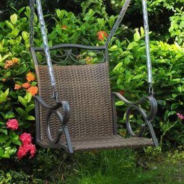 International Caravan Valencia Resin Wicker Porch Swing (Antique Brown)