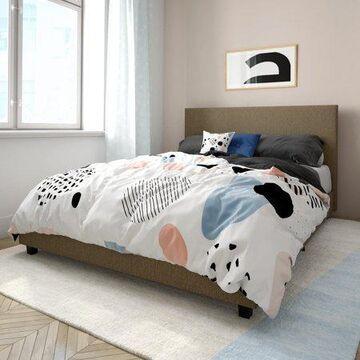 Mainstays Upholstered Platform Bed, Full Size Frame, Oatmeal Linen